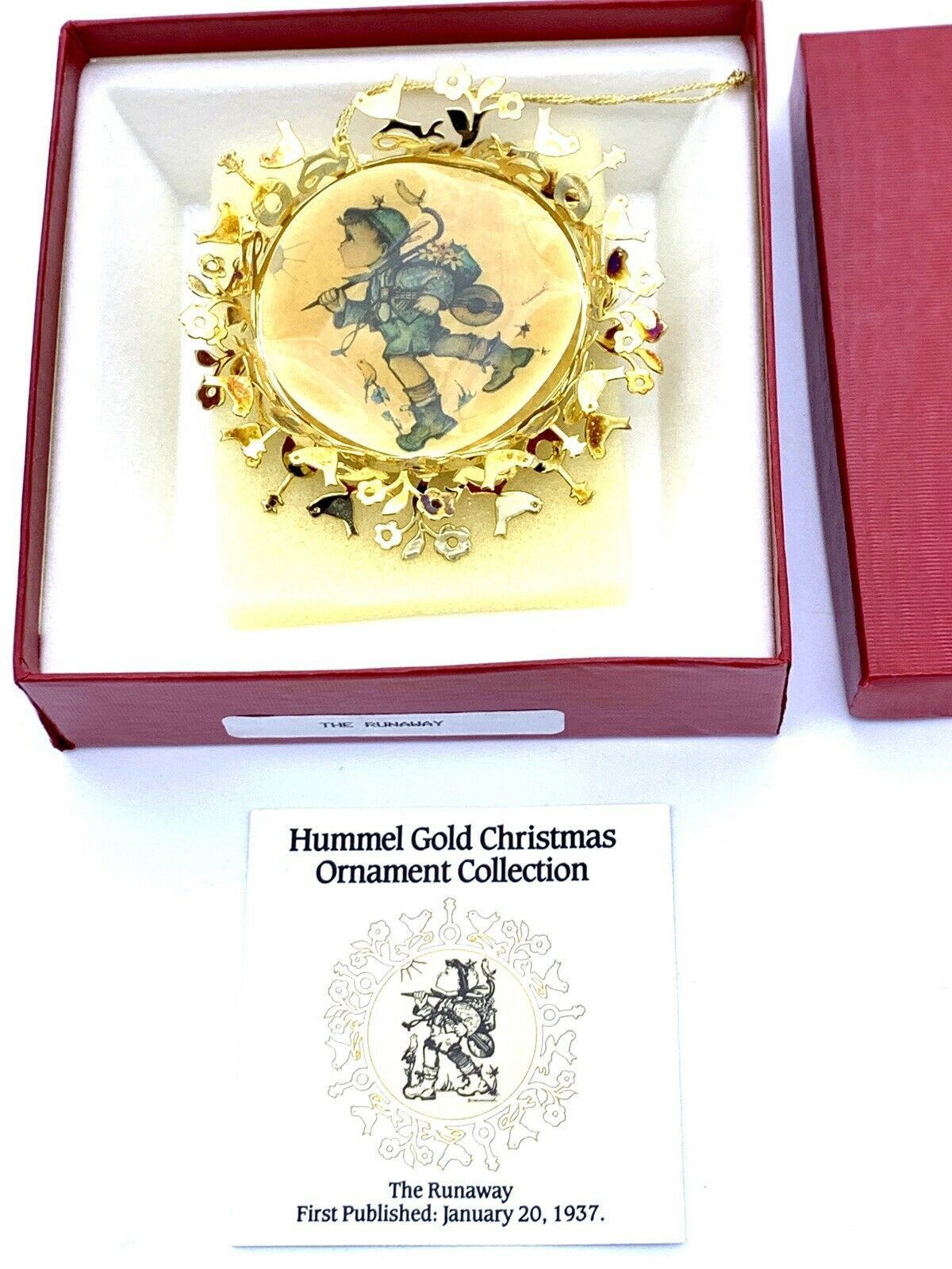 Primary image for Hummel Gold Christmas Ornament   The Runaway 1937  In Original Box
