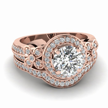 D round white diamond engagement wedding ring in pave set of rose gold wedding ring set thumb200