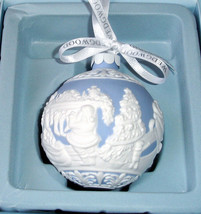 Wedgwood Night Before Christmas Ball Ornament Blue with White Raised Rel... - $54.90