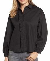Gibson New Black Women's Size XS Ruffle Trim Collared Button Down Shirt ... - $18.39