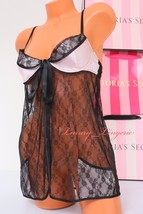 ~VS~ Victoria's Secret Babydoll Lingerie Front Closed Fly-away Lined ~34... - $23.79