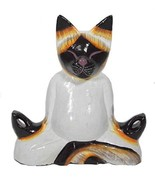 New Lotus Position Meditating Yoga Kitty Statue Hand Painted Carved Wood... - $19.74