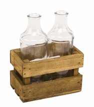 Vintage Clear Glass 2 Bottles In Wooden Crate Farmhouse Cottage Style - $27.74