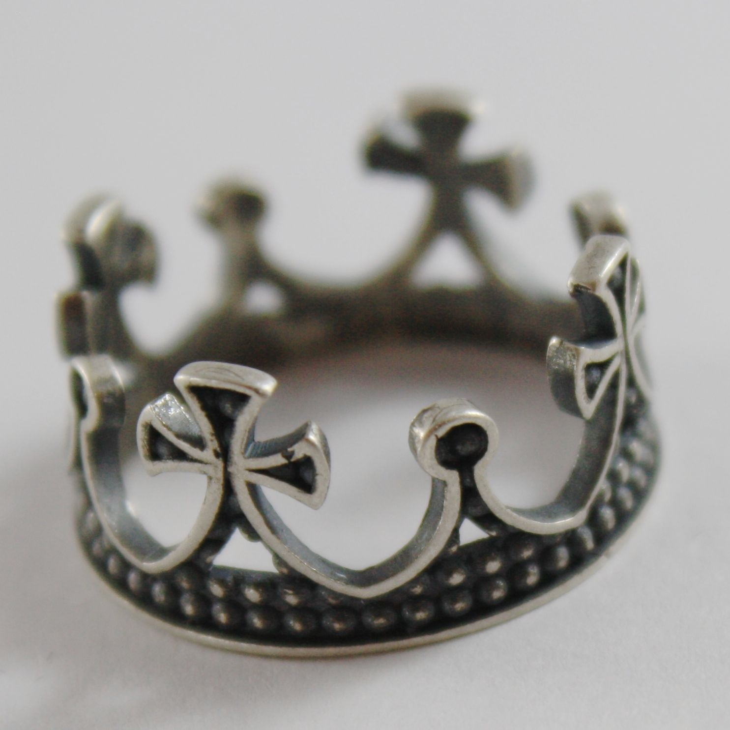 925 SILVER RING BURNISHED WITH CROWN MEDIEVAL VINTAGE STYLE MADE IN ITALY