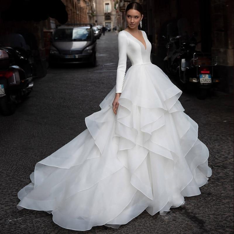 Ly mey vintage scoop neck long sleeve a line wedding dresses 2020 graceful ruffles organza court