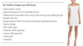 On Twelth Women White Off Shoulder Lace Shift Dress image 5