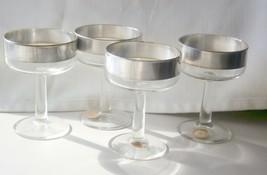 """4 VTG Dorothy Thorpe Allegro Silver Band Stem Glass 4.5"""" Champagne Sherbert - $38.61"""