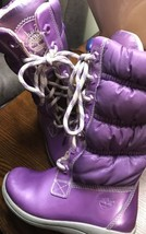 Timberland Spring Easter Purple Girl Toddler Size 9 Long Boots Fur Lace  - $267,53 MXN