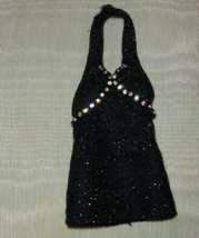 Barbie doll formal black halter top with jeweled decor - $6.99