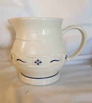 Longaberger Pottery Classic Blue WOVEN TRADITIONS Small Juice Pitcher - $14.85