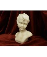 Antique White Marble Portrait Bust Sculpture of Boy Signed Umberto Stiac... - $1,385.99