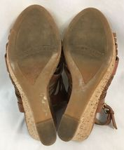 "Franco Sarto ""Sharp"" Brown Leather Slingback Wedges, Women's US Size 6M image 4"