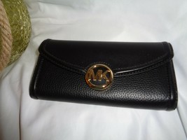 Michael Kors Fulton Large Flap Continental Wallet Black Leather Clutch  - $62.16