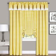 Achim Home Furnishings, Yellow & White Buffalo Check Window Curtain Tie Up Shade - $40.50