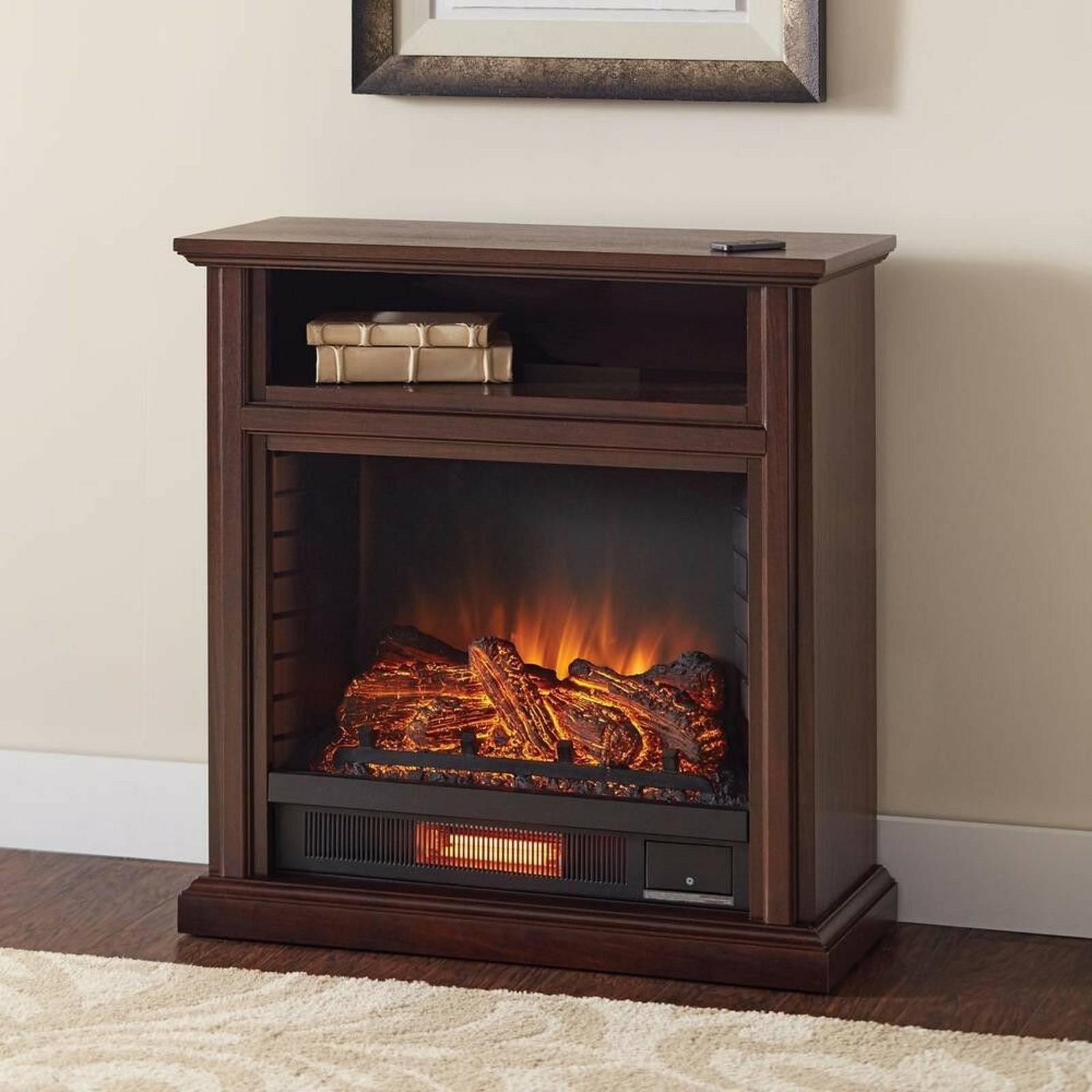"TV Stand Storage with Electric Fireplace Infrared for TV's up to 31"" Room Cherry"