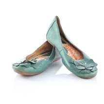 Born Green Leather Floral Ballet Flats Slip On Shoes Womens 9.5 SN W42139 - $39.52