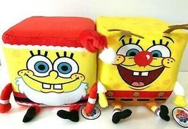 Set of 2 Spongebob Squarepants Christmas Cube Plush Toys 6'' Reindeer +Santa.New - $21.16