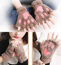 2 Pairs Womens Fingerless Cat Paw Gloves Winter Faux Fur Cute Kitten Mit... - $18.99+