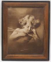Vintage Antique Wood Framed Cupid Asleep Parkinson 1897 - $34.64