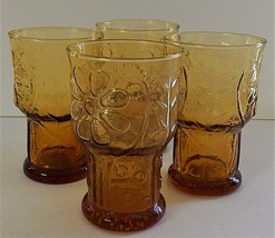 4 Libbey Amber Country Garden Daisy Flower Juice Tumblers Glasses 1960's Yellow  - $25.73