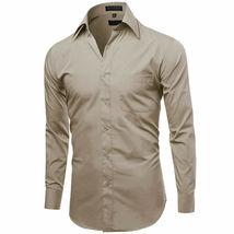 Omega Italy Men's Long Sleeve Solid Khaki Button Up Dress Shirt Size 2XL image 4