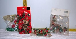 Lot of 4 Assorted Christmas Decorations Bows, Poinsettia Candle Ring, Be... - $7.21