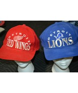 VTG Detroit RED WINGS + LIONS Big Logo The Game Snapback Hat NHL Red Whi... - $74.76