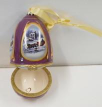 TRINKET BOX  Valerie Parr Hill Musical Egg Shaped Sleigh Snow Scene Orna... - $29.70