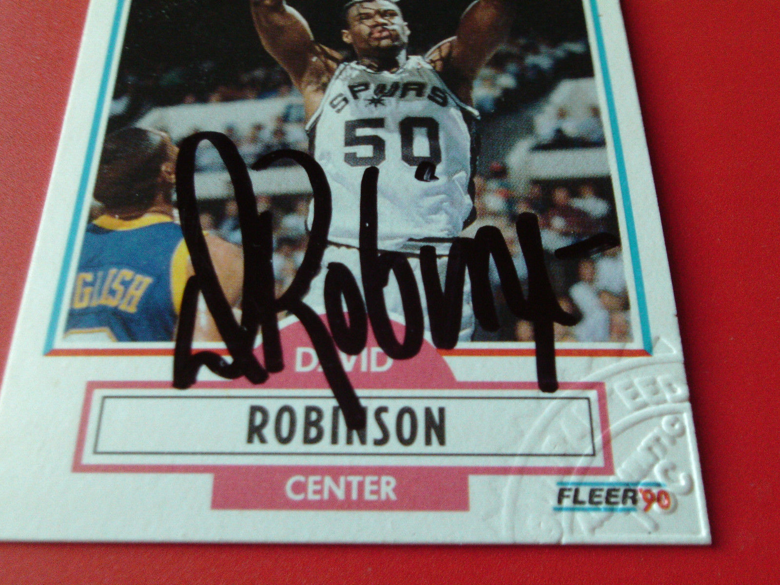 DAVID  ROBINSON  1990 / 91  FLEER  #172  SPURS  HAND SIGNED  AUTO  AUTHENTICATED