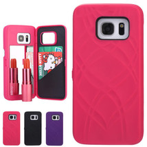Flip Beauty Mirror Case Card Slots Cover Plastic for Samsung Galaxy S8 S8 Plus - $9.07