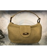 ERIC JAVITS Natural Woven Bamboo Accent Top Handle Shoulder Bag $395 - $150.38