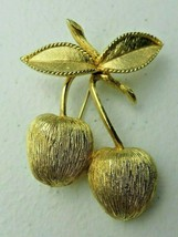 "Vintage SARAH COVENTRY BRUSHED GOLD TONE DOUBLE CHERRIES BROOCH 2"" Pin - $10.00"