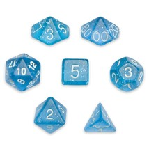 Polyhedral 7-die Dice Set, Blue Glitter Translucent Dice Polyhedral, Vel... - $14.99