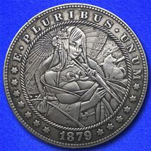 "Parasol Girl ""Hobo Nickel"" on Morgan Dollar Coin ** - $4.79"