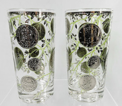 Culver Silver Coin Glasses Tumblers Highball Set of 2 Signed Mid Century... - $17.99