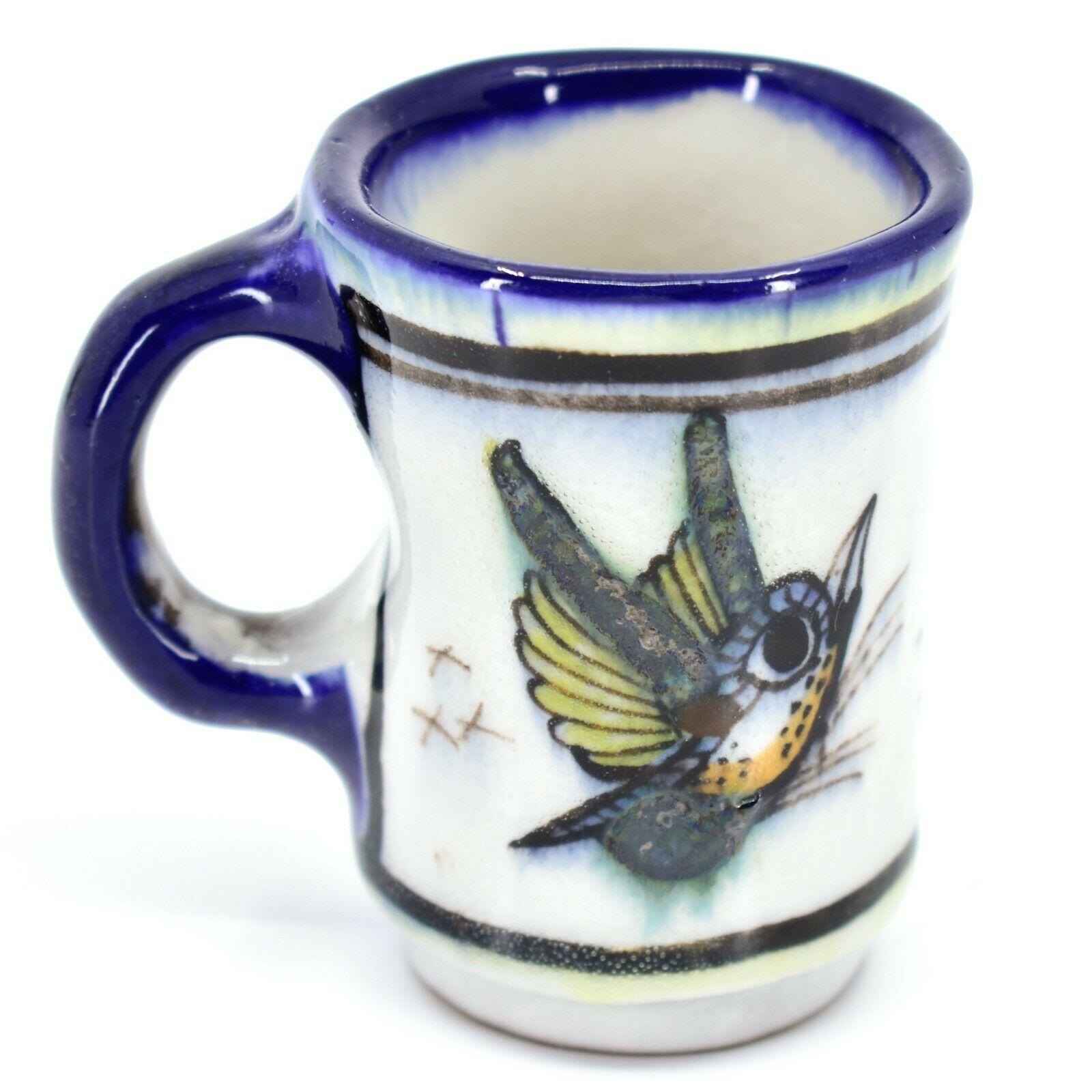 Ceramic Hand Painted Hummingbird & Flower Espresso Cup Mug Handmade Guatemala