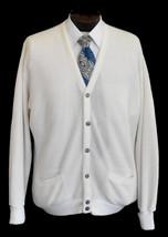 Vintage 80s Men's Cream White Grandpa Cardigan Sweater Size XL to XXL - $54.99