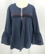 Ann Taylor Loft Outlet Bell Sleeve Open Front Jacket Sz L Boho Dusty Blu... - $20.35