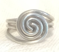 Vintage Sterling Silver Spiral Handmade Ring Thumb Band Size 8.5 - $35.00