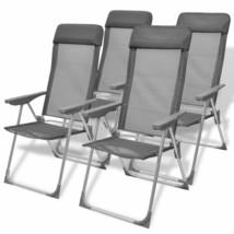 vidaXL 4x Camping Chairs Aluminum Folding Gray Reclining Camp Outdoor Seat - $122.99