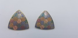 Vintage 1980s Unmarked Multi Color Mosaic Patterns Triangle Shaped Earrings - $15.44
