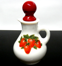 "Vintage AVON Milk Glass Cruet Strawberries with Stopper 5.25"" Tall - $12.00"