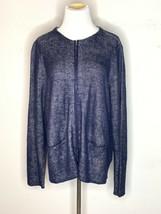 Eileen Fisher Woman Organic Linen Double Knit Sweater Jacket Zip Navy Bl... - $64.95