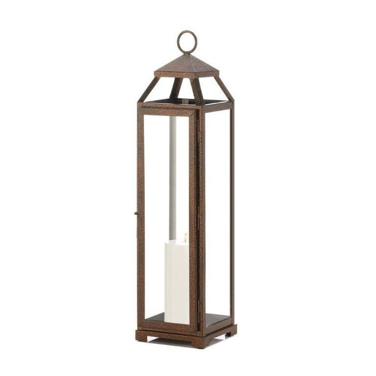 8 Rustic Chic Extra Tall Candle Lanterns Speckled Copper Finish Glass Panels