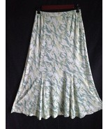 JONES WEAR Floral Lined Skirt Flounced Hem Size PS Green Floral Knit Chi... - $12.58