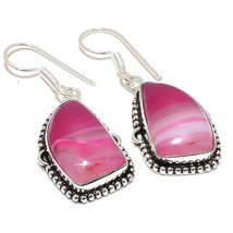 """Pink Lace Agate Gemstone Ethnic Jewelry Earring 1.9"""" RJ3793 - $5.99"""