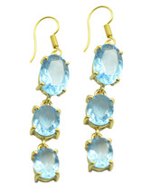 comely Blue topaz CZ Gold Plated Blue Earring Natural gemstones US gift - $14.84