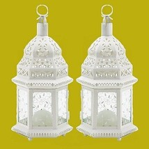 "White Wedding Candle Lanterns 12"" tall (Set of Two) Party Event Supplies... - $35.00"