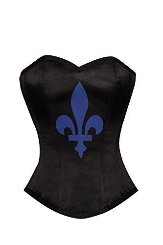 Primary image for Black Satin Blue Flower-de-luce Printed Burlesque Waist Training Overbust Corset