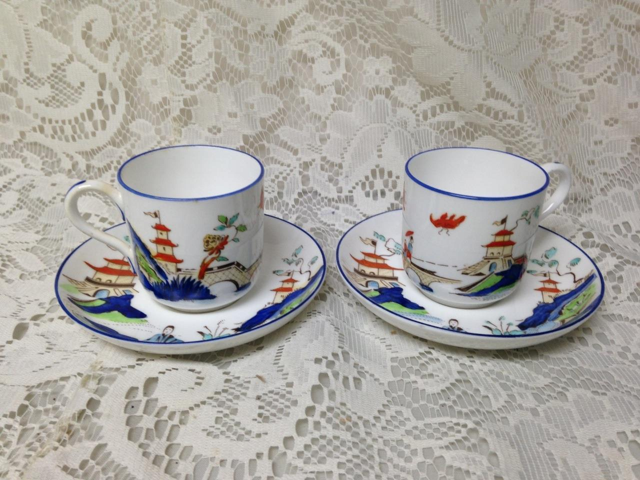 Antique Royal Worcester England Variant Gaudy Blue Willow 2Sets Demi Cup-Saucer